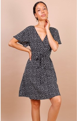 Lilura London Summer Black Daisy Dot Wrap Front Mini Dress