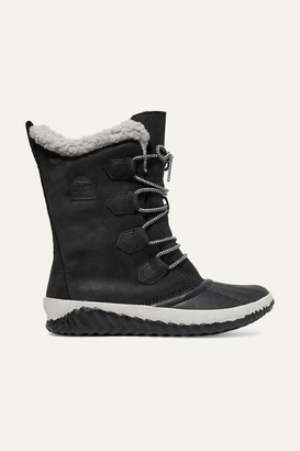 Sorel Out 'n About Plus Leather And Suede Boots - Black