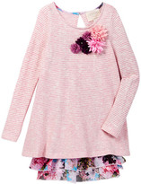 Hannah Banana Sweater Knit Layered Dress With Floral Trim (Little Girls)