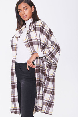 Forever 21 Plaid Open-Front Poncho