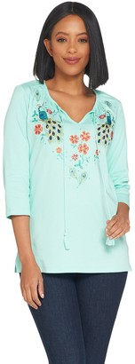 Quacker Factory Bohemian Floral Knit Top With Tassel Detail