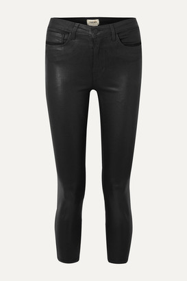 L'Agence Margot Cropped Coated High-rise Skinny Jeans - Black
