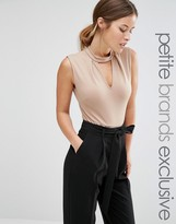 Alter Petite Sleeveless Jersey Body With Keyhole Detail