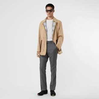 Burberry Monogram Leather Detail Cotton Gabardine Jacket