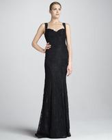 Monique Lhuillier Lace Gown with Cotour Panels