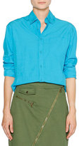 Tomas Maier Boyfriend-Fit Cotton Blouse, Azur