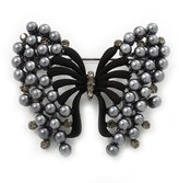 Avalaya Ash Synthetic Pearl Butterfly Brooch In Gun Metal Finish - 5cm Length