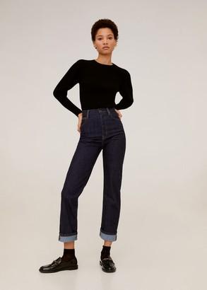 MANGO Puffed sleeves ribbed sweater black - XS - Women