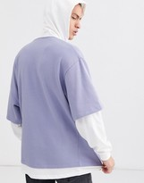 Asos Design DESIGN oversized hoodie with double layer sweat in purple