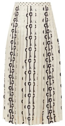 La Prestic Ouiston Gabrielle Good Luck-print Pleated Silk Skirt - White Black