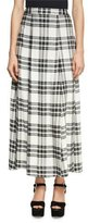 Alice + Olivia Athena Double Slit Plaid Maxi Skirt, White/Black