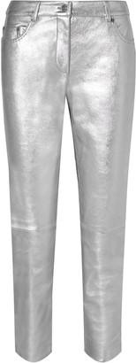 Moschino Metallic Leather Straight-leg Pants