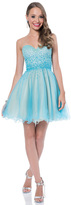 Terani Prom - Elegant Pearl Encrusted Sweetheart Neck Polyester Tea Length Dress 1611P0106A