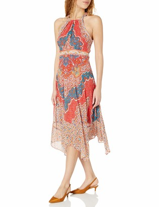 Sandra Darren Women's Sleeveless Hi Multi Chiffon Halter Neck Midi Dress