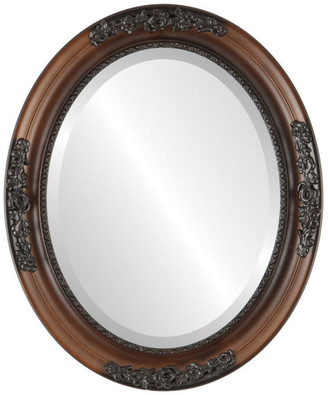 """The Oval And Round Mirror Store Versailles Framed Oval Mirror in Walnut, 15""""x19"""""""