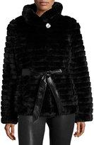Gorski Rabbit Fur Down Feather Jacket, Black
