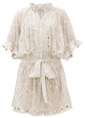 Juliet Dunn Sequinned Printed Cotton Shirt Dress - Womens - White Multi