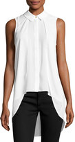 philosophy Layered-Front High-Low Sleeveless Blouse, Ivory