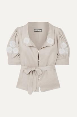 Innika Choo Anya Embroidered Linen Top - Gray