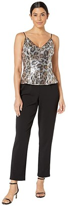 Adrianna Papell Animal Print Sequin Jumpsuit with Crepe Pants (Beige/Black) Women's Jumpsuit & Rompers One Piece