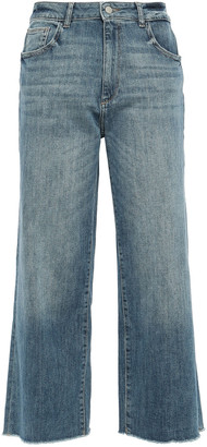 DL1961 Palmer Cropped Distressed High-rise Wide-leg Jeans