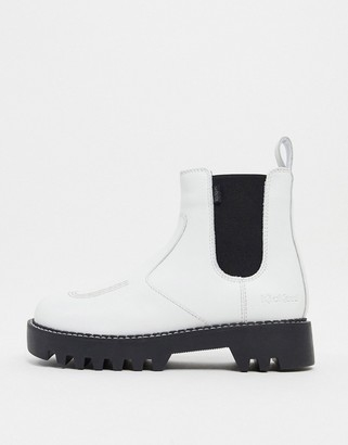 Kickers Kizzie chunky chelsea boots in white
