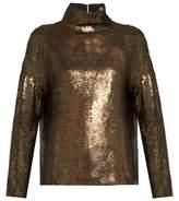 Tibi Sequin-embellished roll-neck top