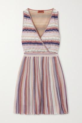 Missoni Wrap-effect Metallic Striped Crochet-knit Mini Dress - Pink