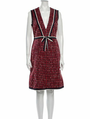 Gucci Printed Knee-Length Dress w/ Tags Red