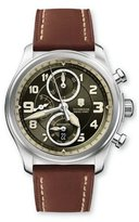 Victorinox 241448 Men's Brown Leather Band Green Dial Watch