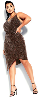 City Chic Madam Chelsea Dress - bronze