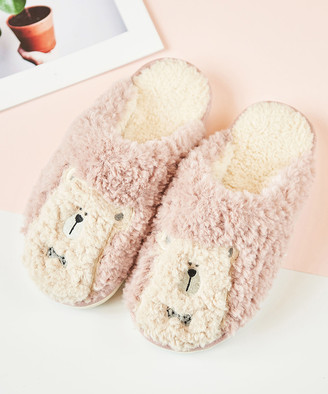 Dudu Town TOWN Women's Slippers Pink - Pink Polar Bear Sherpa Slippers - Women