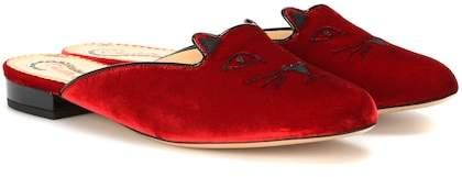 Charlotte Olympia Kitty velvet slippers