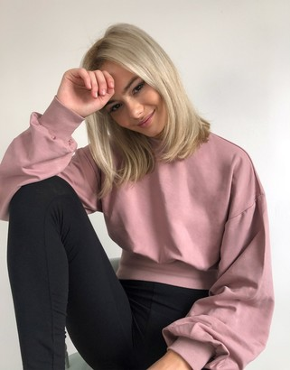 Asos DESIGN lounge boxy batwing super soft sweatshirt with rib in pink