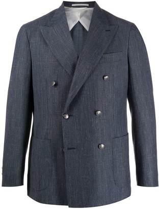 Barba Linen Double-Breasted Blazer