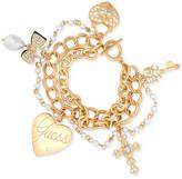 GUESS Gold-Tone Multi-Strand Pave Charm Bracelet