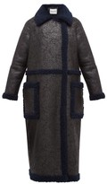 Stand Studio Adrianna Faux-suede And Shearling Coat - Womens - Black Navy