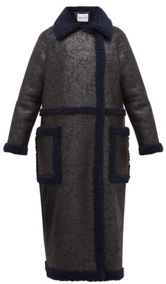 Stand Studio Adrianna Faux-suede And Shearling Coat - Black Navy