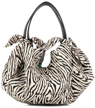 Nanushka mini Inda zebra-print tote