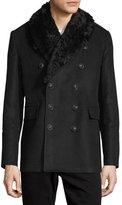 Burberry Moleskin Shearling-Lined Pea Coat