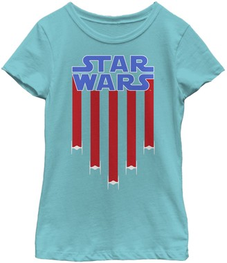 Star Wars Girls 7-16 Fighter Jets Star Bangled Banner July 4th Graphic Tee