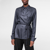 Paul Smith Women's Navy Silk-Twill Wrap Shirt