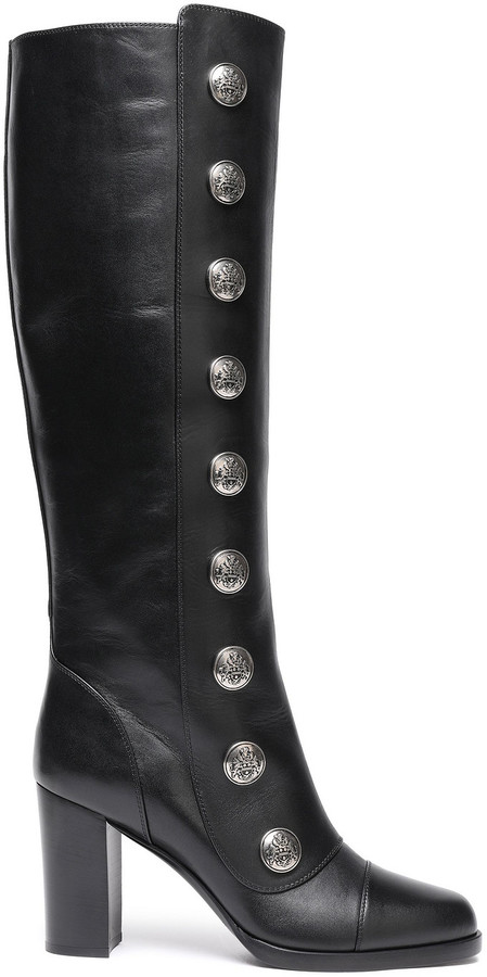 Michael Kors Collection Button-embellished Leather Boots