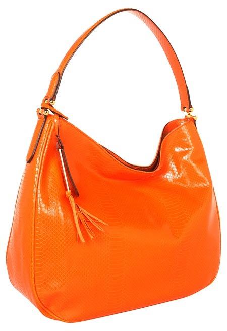 Lauren Ralph Lauren Banbury Snake Hobo (Orange) - Bags and Luggage
