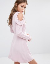 Fashion Union Cold Shoulder Smock Dress With Frills On Shoulder