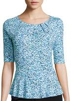 Liz Claiborne Elbow-Sleeve Peplum Knit Top