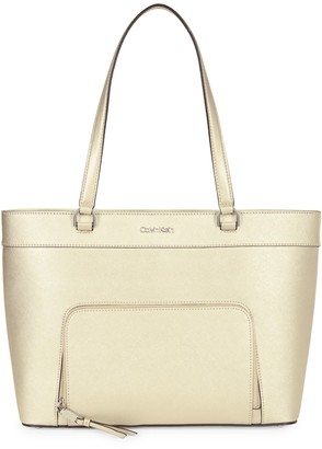 Calvin Klein East-West Zip-Pocket Leather Tote