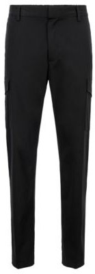 HUGO BOSS Slim Fit Cargo Pants In Stretch Cotton Satin - Black