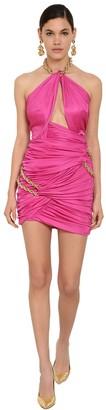 Moschino Crystal Embellished Viscose Jersey Dress
