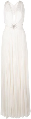 Dundas cross-back pleated dress